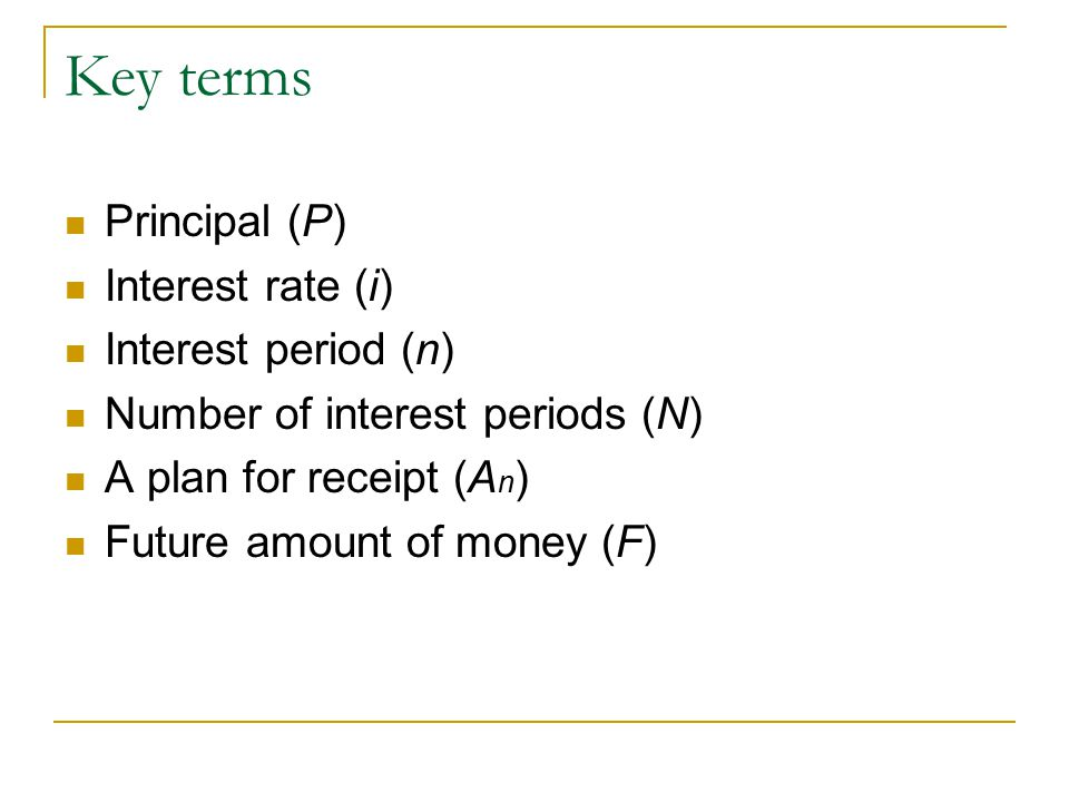 Key terms Principal (P) Interest rate (i) Interest period (n) Number of interest periods (N) A plan for receipt (A n ) Future amount of money (F)