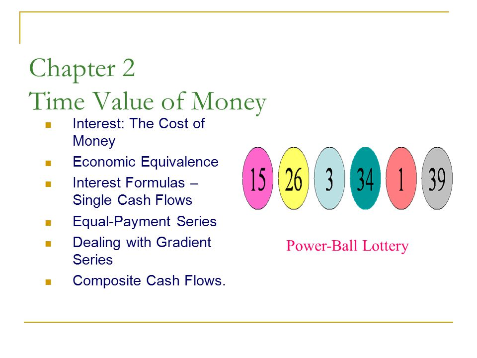 Chapter 2 Time Value of Money Interest: The Cost of Money Economic Equivalence Interest Formulas – Single Cash Flows Equal-Payment Series Dealing with