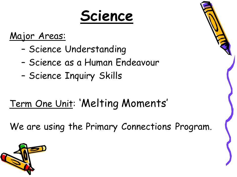 Science Major Areas: –Science Understanding –Science as a Human Endeavour –Science Inquiry Skills Term One Unit: 'Melting Moments' We are using the Primary Connections Program.