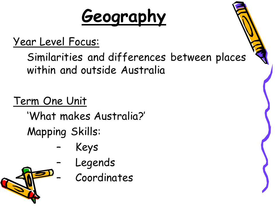 Geography Year Level Focus: Similarities and differences between places within and outside Australia Term One Unit 'What makes Australia?' Mapping Skills: –Keys –Legends –Coordinates