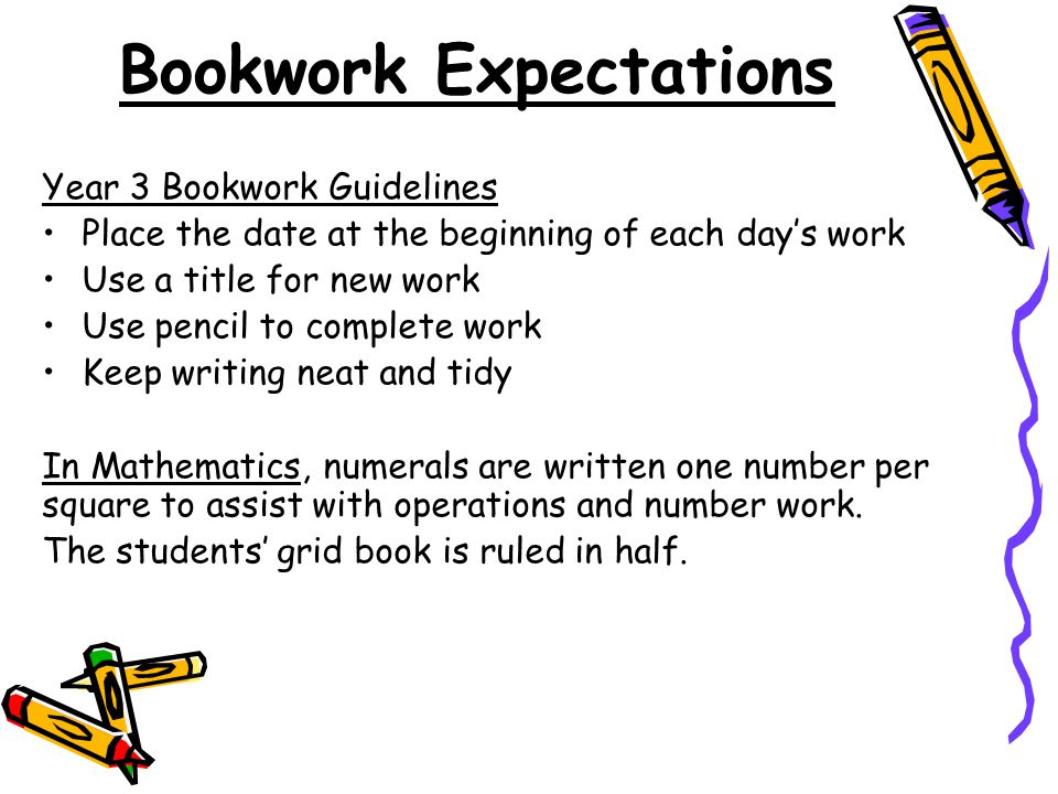 Bookwork Expectations Year 3 Bookwork Guidelines Place the date at the beginning of each day's work Use a title for new work Use pencil to complete work Keep writing neat and tidy In Mathematics, numerals are written one number per square to assist with operations and number work.