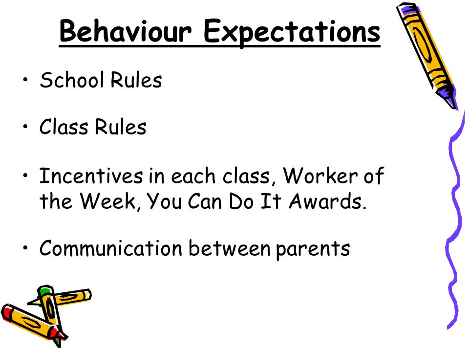 Behaviour Expectations School Rules Class Rules Incentives in each class, Worker of the Week, You Can Do It Awards.