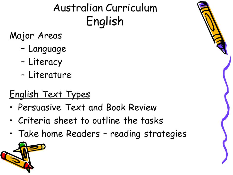 Australian Curriculum English Major Areas –Language –Literacy –Literature English Text Types Persuasive Text and Book Review Criteria sheet to outline the tasks Take home Readers – reading strategies