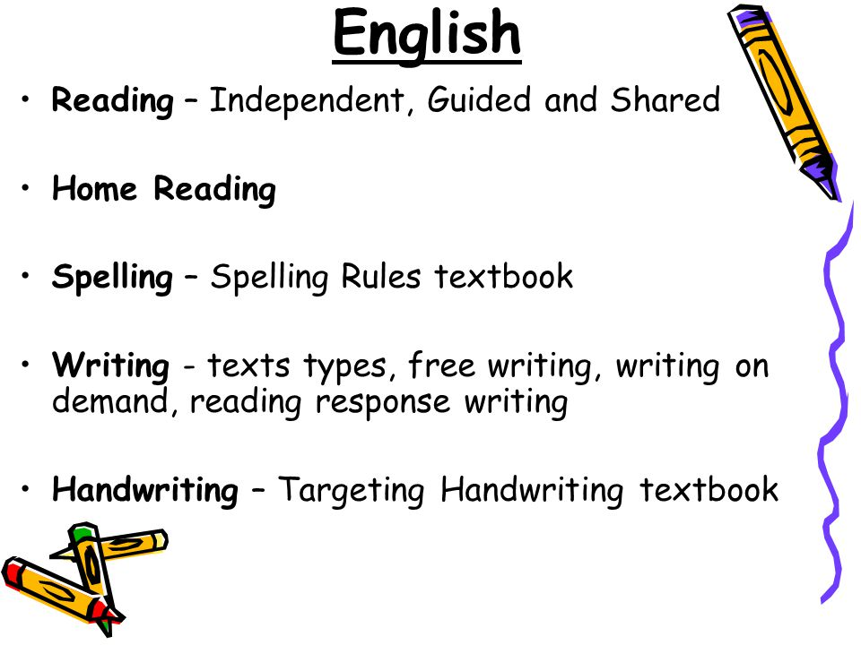 English Reading – Independent, Guided and Shared Home Reading Spelling – Spelling Rules textbook Writing - texts types, free writing, writing on deman