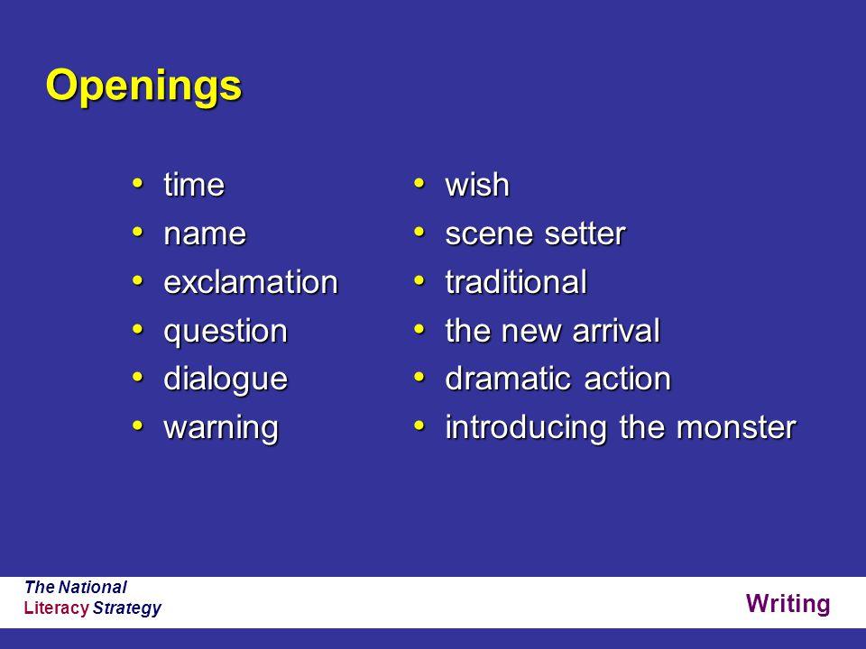 Writing The National Literacy Strategy Openings time time name name exclamation exclamation question question dialogue dialogue warning warning wish w