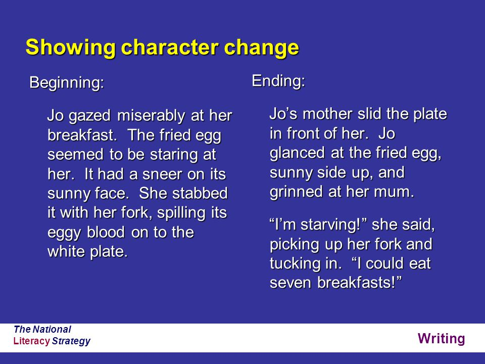 Writing The National Literacy Strategy Showing character change Beginning: Jo gazed miserably at her breakfast.