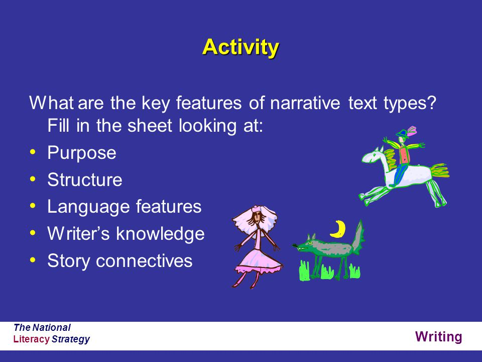 Writing The National Literacy Strategy Activity What are the key features of narrative text types.
