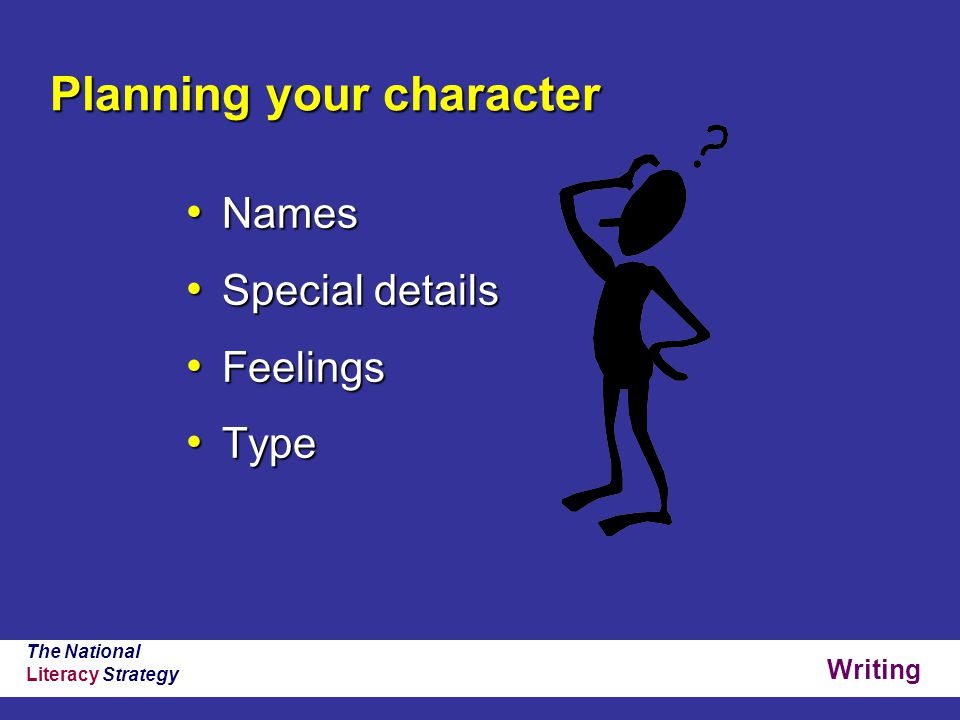 Writing The National Literacy Strategy Planning your character Names Names Special details Special details Feelings Feelings Type Type