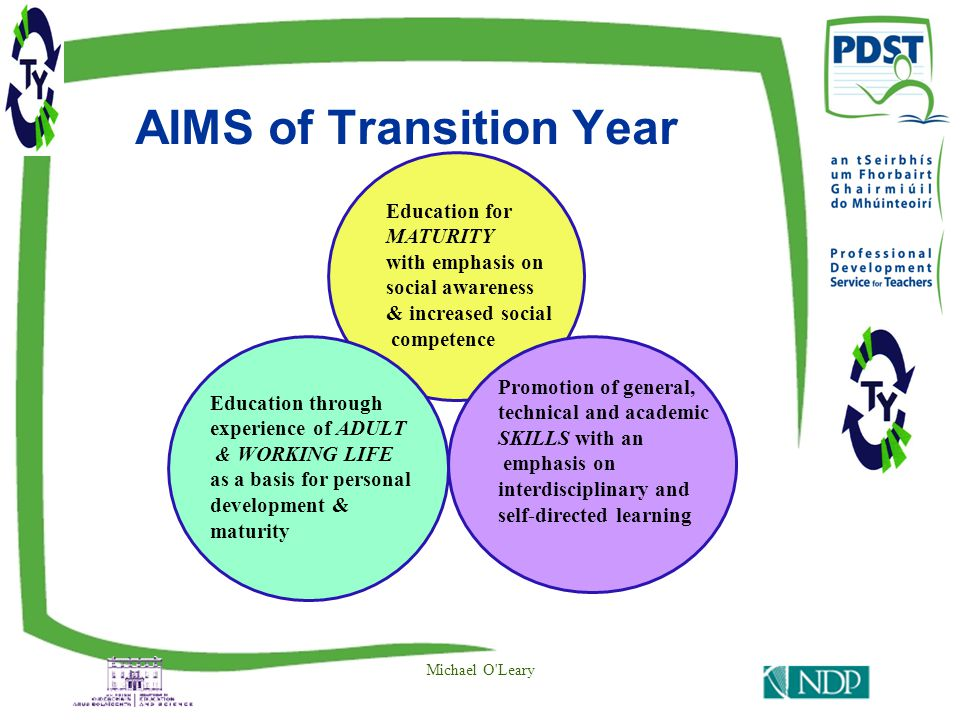 AIMS of Transition Year Michael O Leary Education for MATURITY with emphasis on social awareness & increased social competence Education through experience of ADULT & WORKING LIFE as a basis for personal development & maturity Promotion of general, technical and academic SKILLS with an emphasis on interdisciplinary and self-directed learning