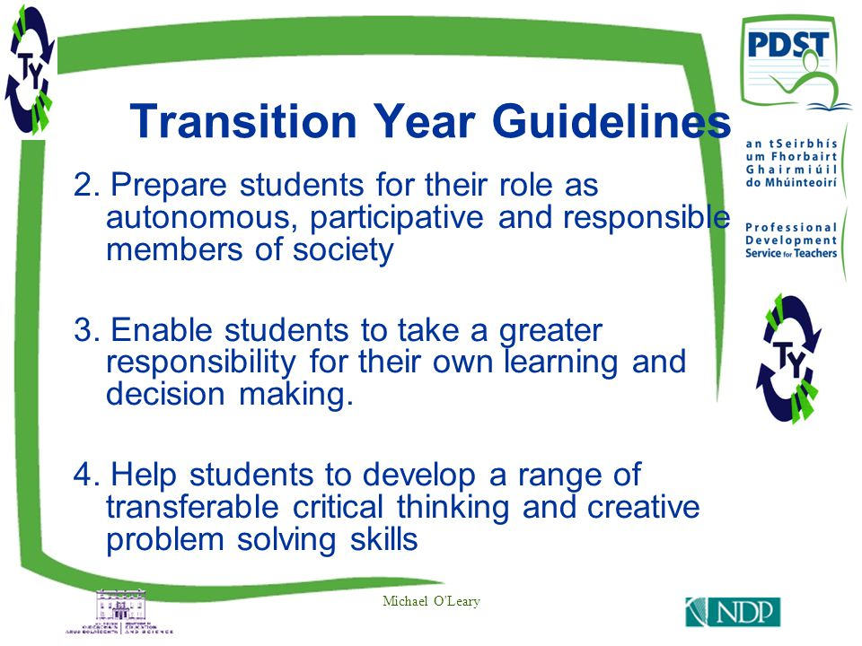Transition Year Guidelines 2.