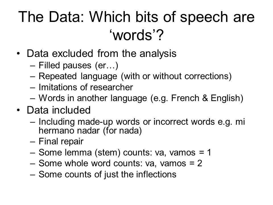 The Data: Which bits of speech are 'words'.