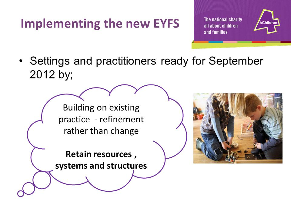 Settings and practitioners ready for September 2012 by; Building on existing practice - refinement rather than change Retain resources, systems and st