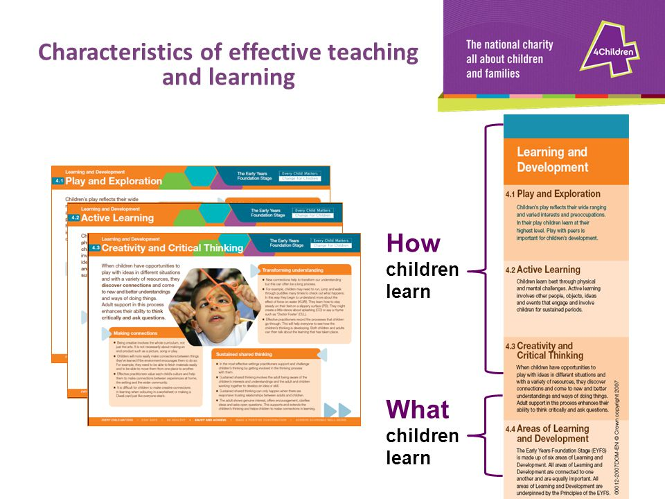 How children learn What children learn Characteristics of effective teaching and learning