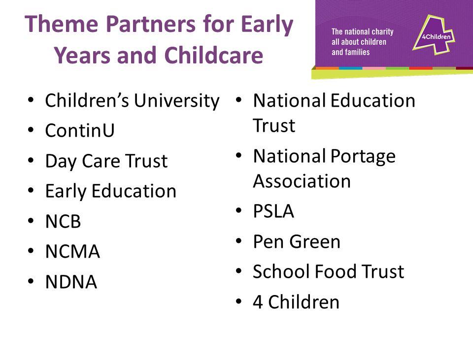 Children's University ContinU Day Care Trust Early Education NCB NCMA NDNA National Education Trust National Portage Association PSLA Pen Green School