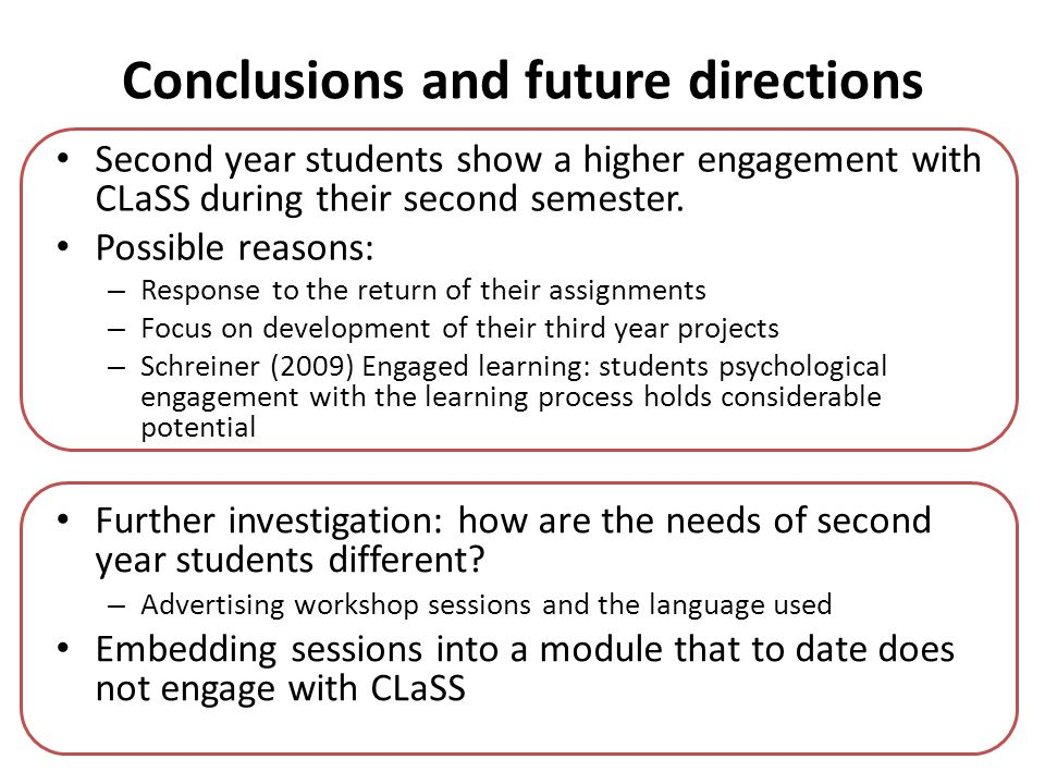 Conclusions and future directions Second year students show a higher engagement with CLaSS during their second semester. Possible reasons: – Response