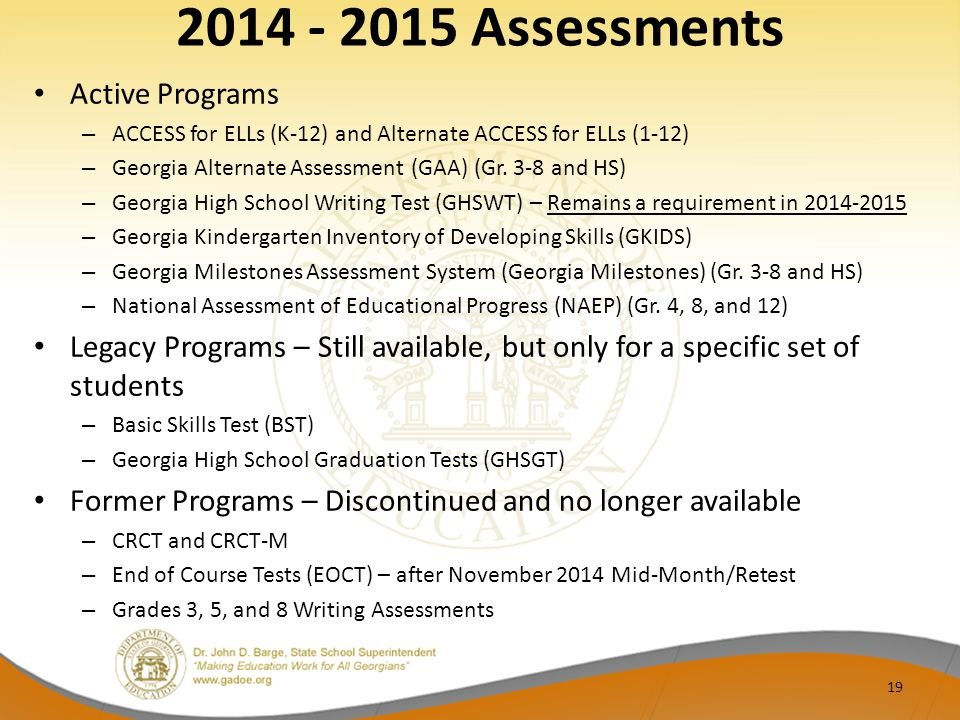 2014 - 2015 Assessments Active Programs – ACCESS for ELLs (K-12) and Alternate ACCESS for ELLs (1-12) – Georgia Alternate Assessment (GAA) (Gr.
