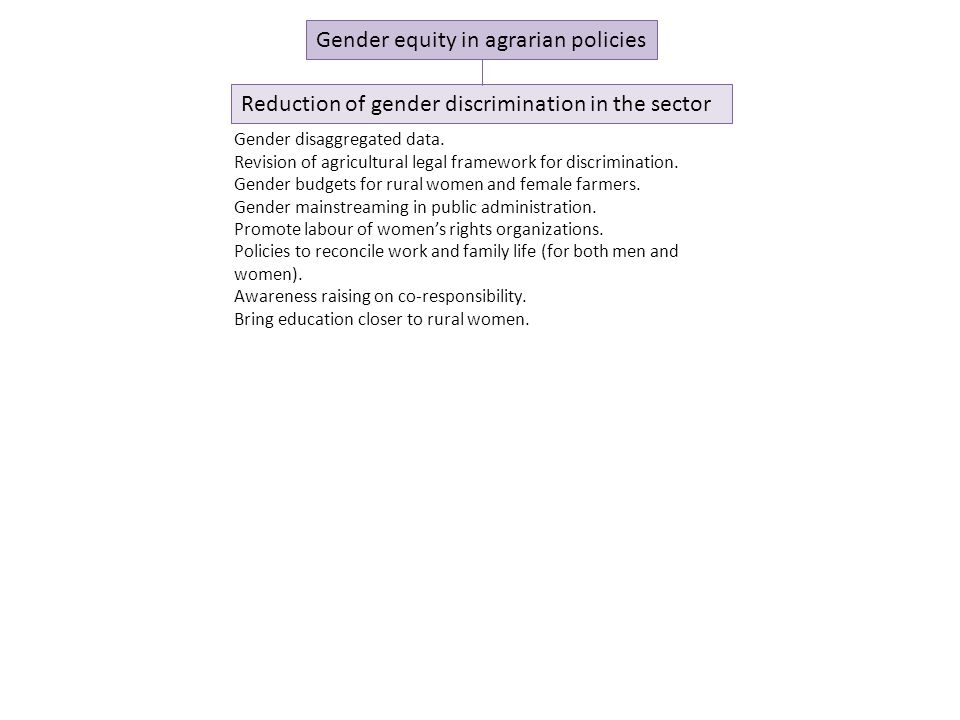 Gender equity in agrarian policies Reduction of gender discrimination in the sector Gender disaggregated data.