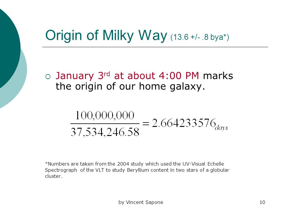 by Vincent Sapone10 Origin of Milky Way (13.6 +/-.8 bya*)  January 3 rd at about 4:00 PM marks the origin of our home galaxy.