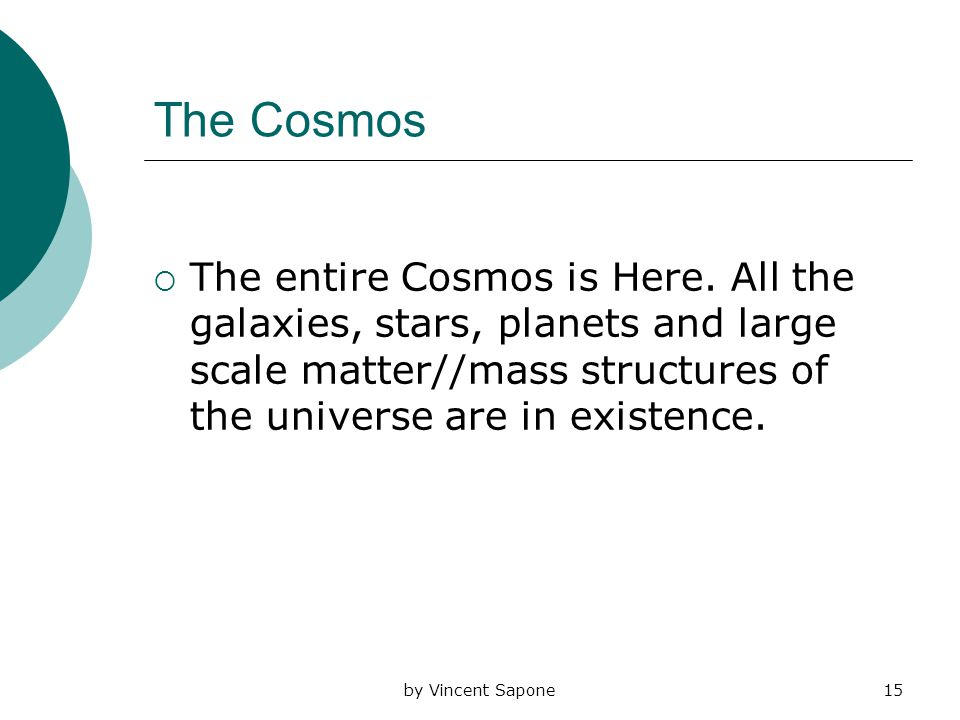 by Vincent Sapone15 The Cosmos  The entire Cosmos is Here.