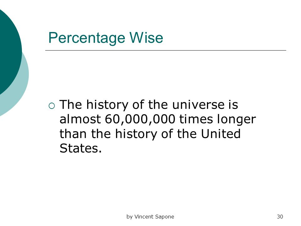 by Vincent Sapone30 Percentage Wise  The history of the universe is almost 60,000,000 times longer than the history of the United States.