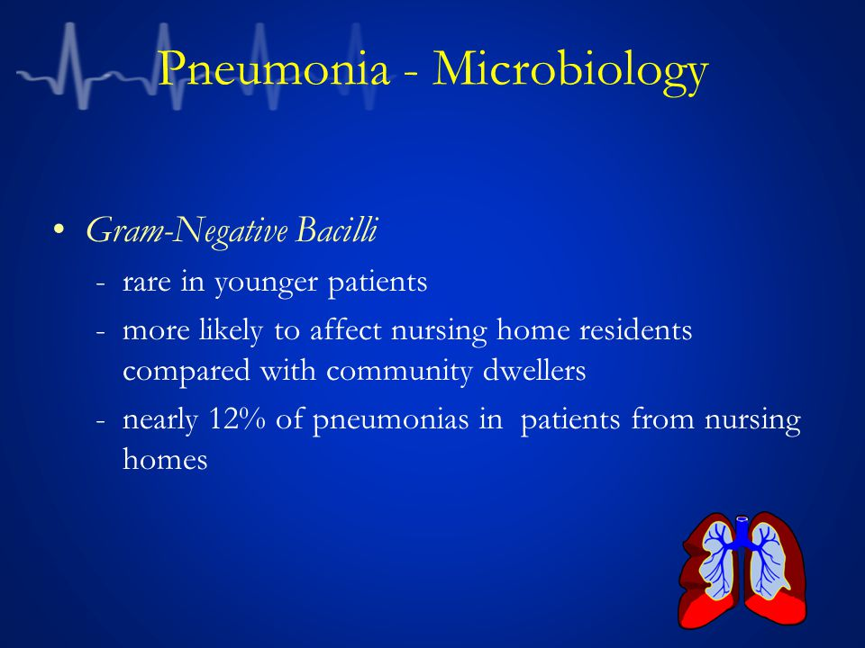 Pneumonia - Microbiology Gram-Negative Bacilli -rare in younger patients -more likely to affect nursing home residents compared with community dweller