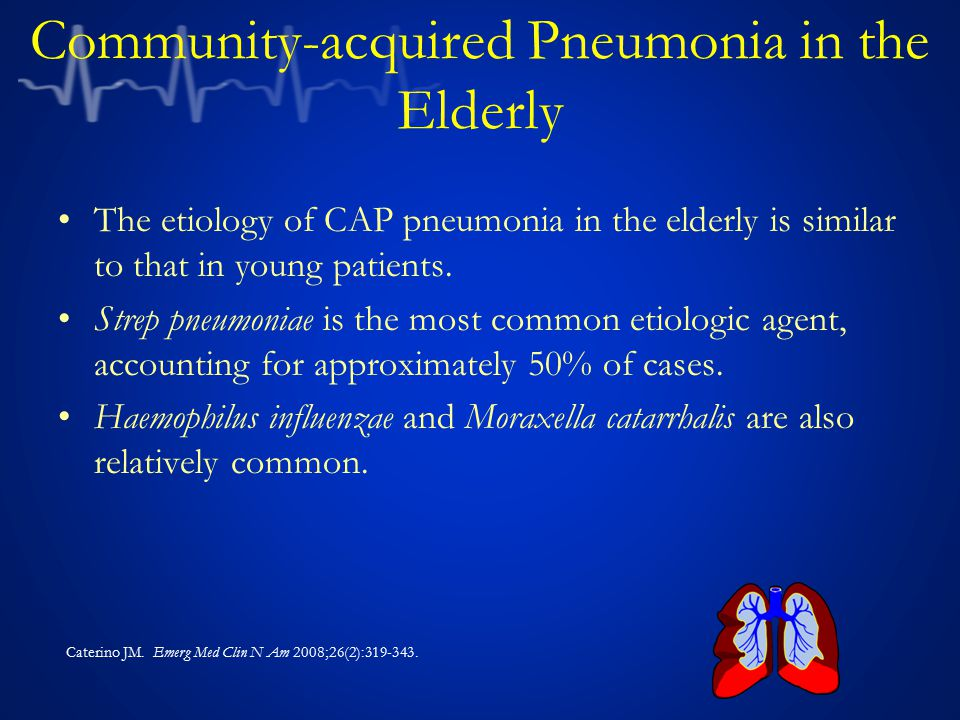 Community-acquired Pneumonia in the Elderly The etiology of CAP pneumonia in the elderly is similar to that in young patients. Strep pneumoniae is the