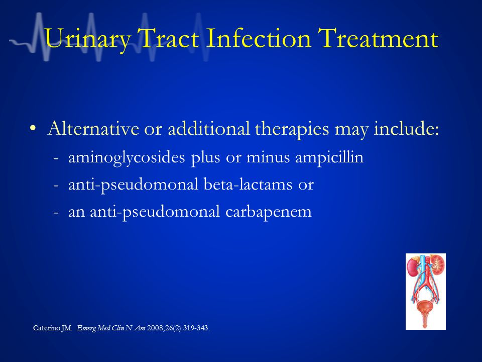 Urinary Tract Infection Treatment Alternative or additional therapies may include: -aminoglycosides plus or minus ampicillin -anti-pseudomonal beta-la