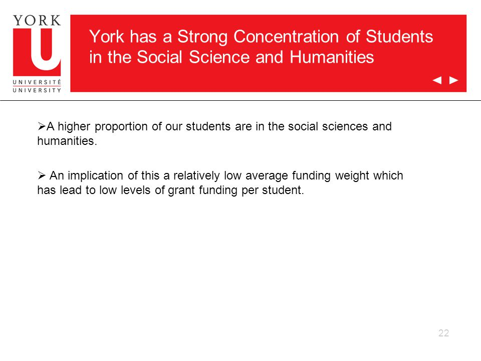 22 York has a Strong Concentration of Students in the Social Science and Humanities  A higher proportion of our students are in the social sciences and humanities.