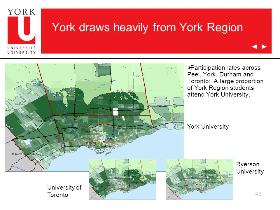 48 York draws heavily from York Region  Participation rates across Peel, York, Durham and Toronto: A large proportion of York Region students attend York University.