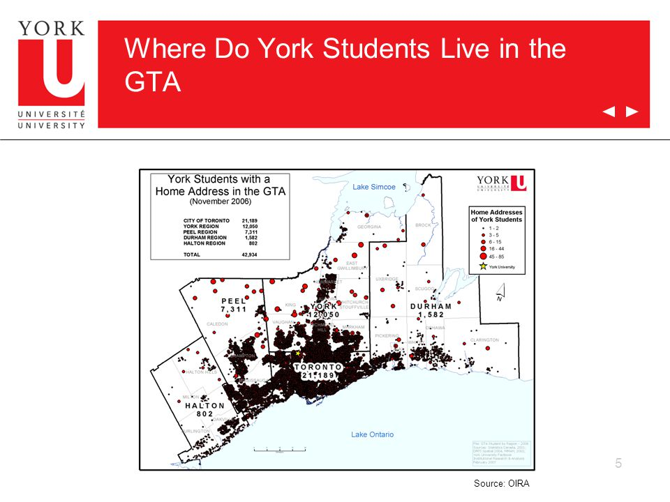 5 Where Do York Students Live in the GTA Source: OIRA
