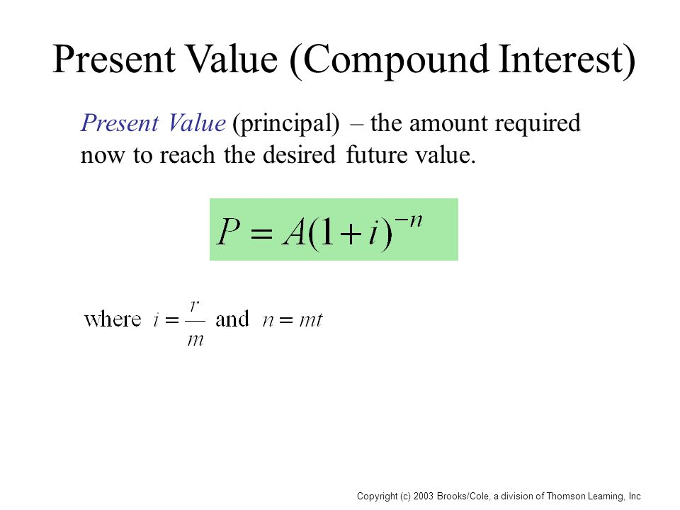 Copyright (c) 2003 Brooks/Cole, a division of Thomson Learning, Inc Present Value (Compound Interest) Present Value (principal) – the amount required now to reach the desired future value.