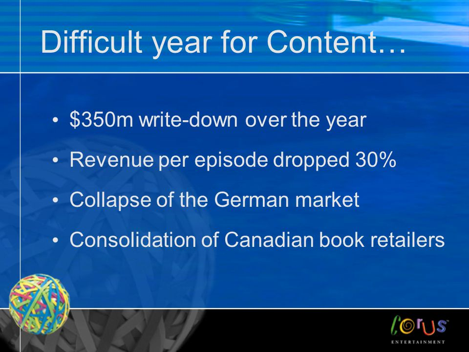 Difficult year for Content… $350m write-down over the year Revenue per episode dropped 30% Collapse of the German market Consolidation of Canadian book retailers