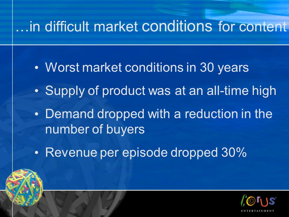 …in difficult market conditions for content Worst market conditions in 30 years Supply of product was at an all-time high Demand dropped with a reduct