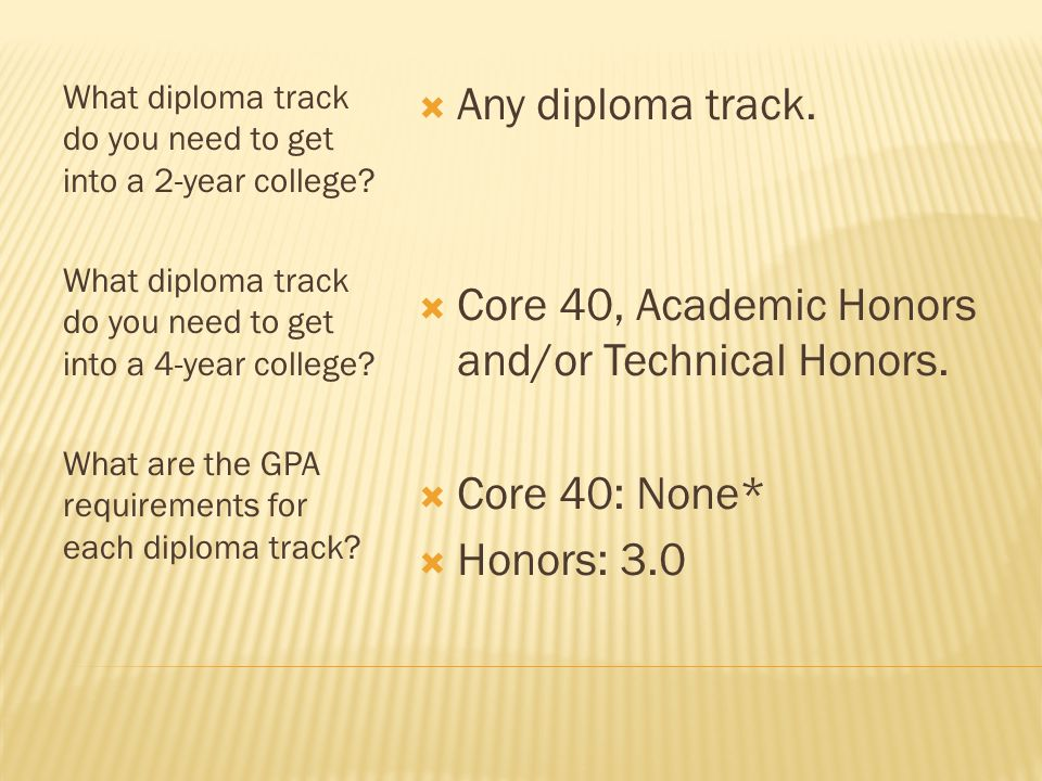 What diploma track do you need to get into a 2-year college.