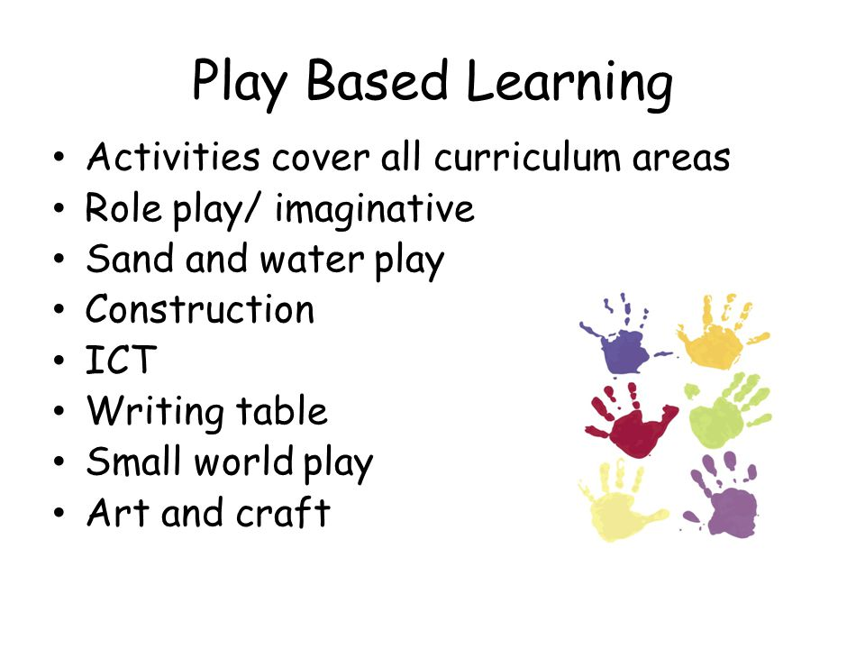 Play Based Learning Activities cover all curriculum areas Role play/ imaginative Sand and water play Construction ICT Writing table Small world play Art and craft