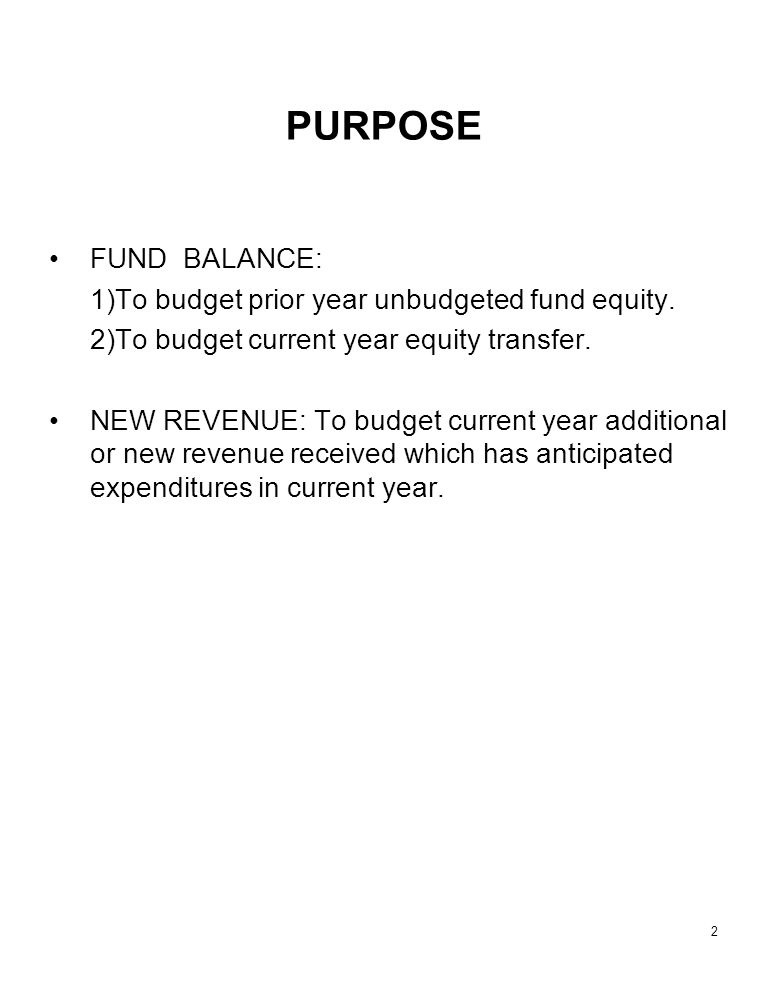2 PURPOSE FUND BALANCE: 1)To budget prior year unbudgeted fund equity.