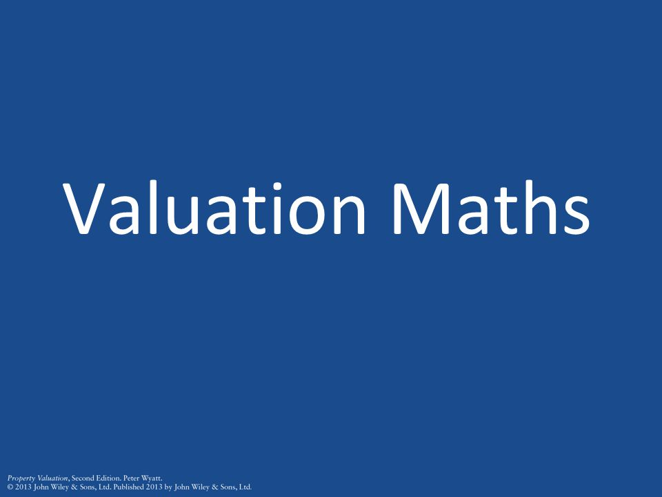 Valuation Maths