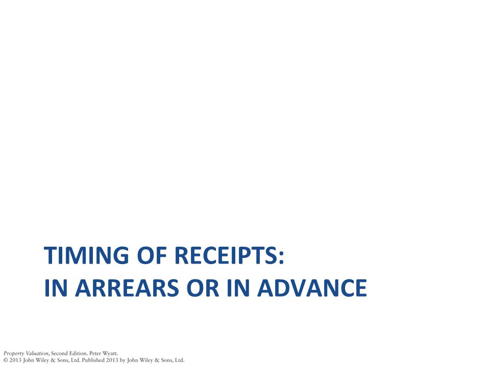 TIMING OF RECEIPTS: IN ARREARS OR IN ADVANCE