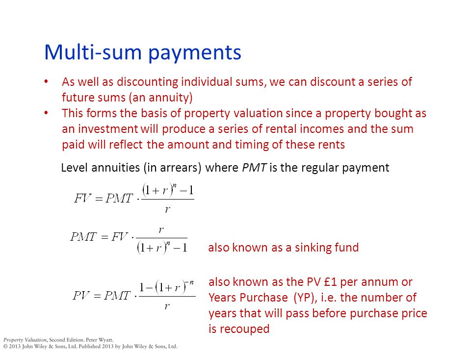 Net initial yield For example: Valuation (gross of costs) = £1,000,000 Less acquisition costs at 5.7625% = 1,000,000(0.942375) = 942,375 What is the problem with this calculation.