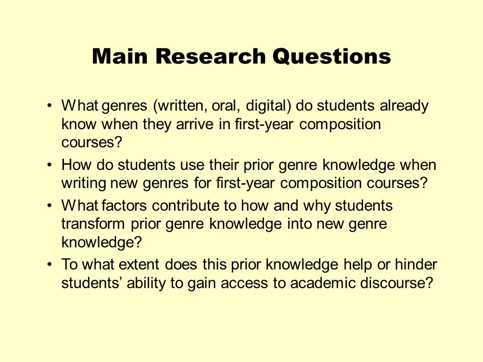Main Research Questions What genres (written, oral, digital) do students already know when they arrive in first-year composition courses.