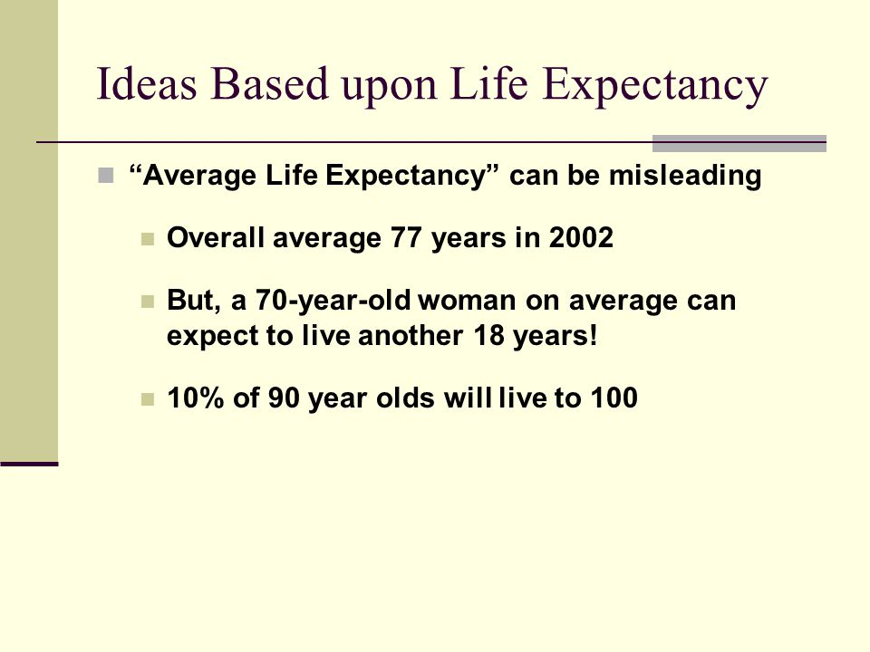 "Ideas Based upon Life Expectancy ""Average Life Expectancy"" can be misleading Overall average 77 years in 2002 But, a 70-year-old woman on average can"