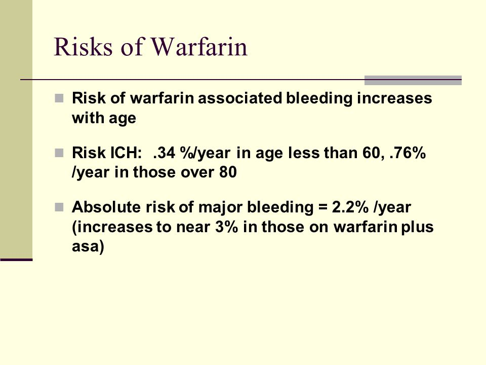 Risks of Warfarin Risk of warfarin associated bleeding increases with age Risk ICH:.34 %/year in age less than 60,.76% /year in those over 80 Absolute