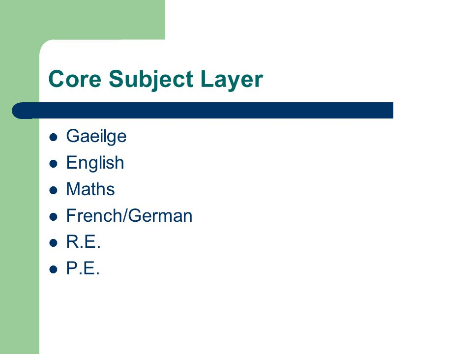 Core Subject Layer Gaeilge English Maths French/German R.E. P.E.