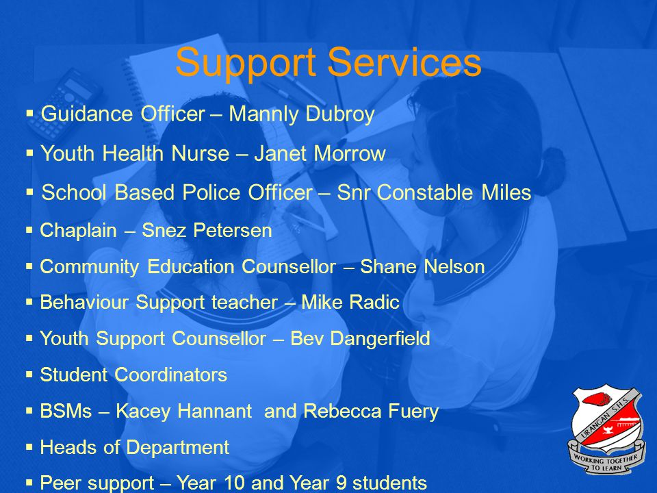 Support Services  Guidance Officer – Mannly Dubroy  Youth Health Nurse – Janet Morrow  School Based Police Officer – Snr Constable Miles  Chaplain