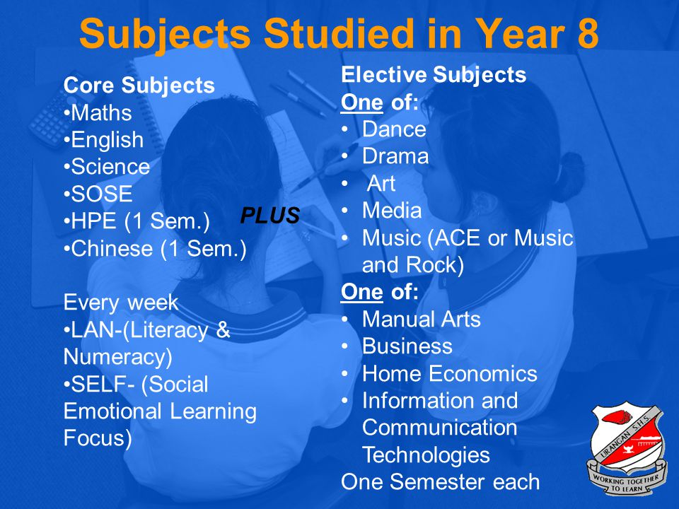 Subjects Studied in Year 8 Core Subjects Maths English Science SOSE HPE (1 Sem.) Chinese (1 Sem.) Every week LAN-(Literacy & Numeracy) SELF- (Social E