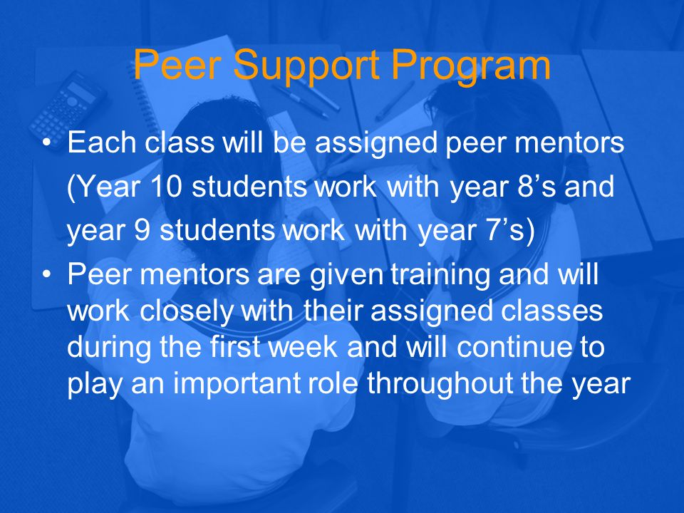 Peer Support Program Each class will be assigned peer mentors (Year 10 students work with year 8's and year 9 students work with year 7's) Peer mentor