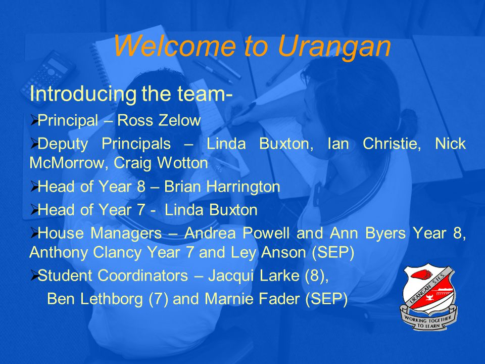 School Structure House Manager Ms Buxton/ Mr Clancy/Mrs Anson House Manager Ms Buxton House Manager Mr Clancy Head of Year Ms Buxton 7B1 7B2 7B3 7B9 7C1 7C2 7C3 7C4 7T1 7T2 7T3 Student Coordinators Mr Lethborg/ Mrs Fader House Managers: Student Welfare Student Achievement Student Behaviour Student Support Teacher Mentor Parent Contact Student Coordinator: Extra Curricular Activities Student Welfare Lunchtime Activities New Student Orientation Student Leadership Form Activities (Social & Emotional Learning)