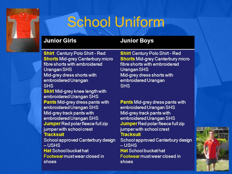 Uniform shop Opening hours (last three weeks of the holidays) Jan 2015 Mon 5 th,12 th,19 th Jan 10am - 2pm Tues 6 th,13 th, 20 th Jan 8am - 2pm Wed 7 th, 14 th, 21 st Jan 10am - 2pm Thurs 8 th, 15 th, 22 nd Jan 10am - 6pm Fri 9 th, 16 th, 23 rd Jan 10am – 2pm Sat 10 th, 17 th, 24 th Jan 10am- 2pm