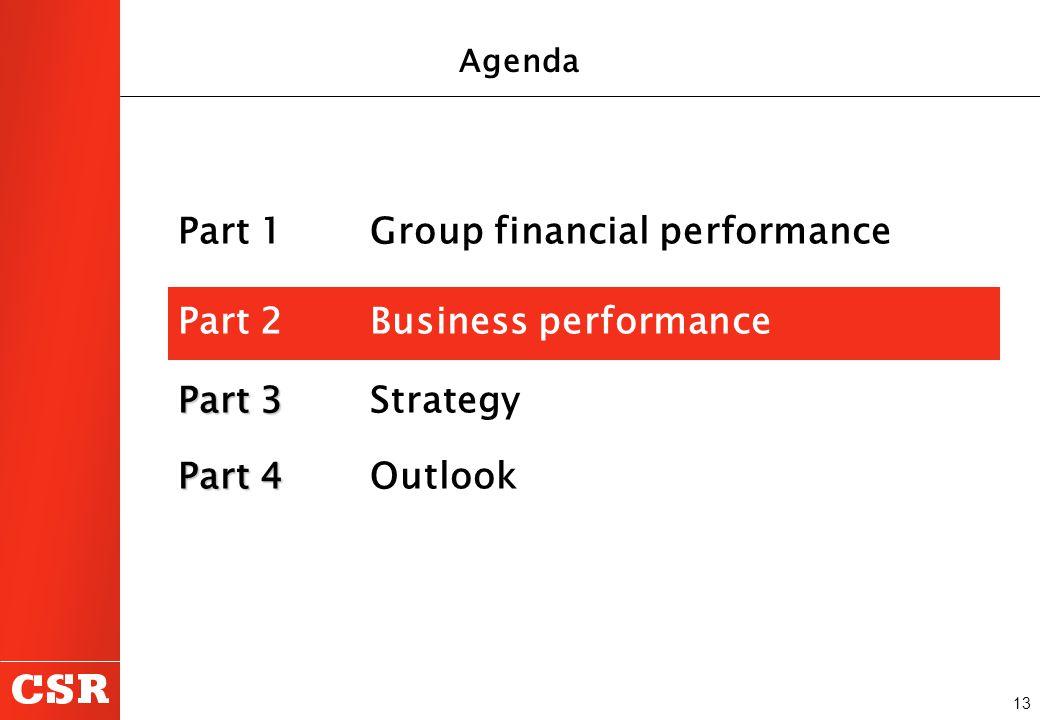 13 Part 1 Group financial performance Part 2Business performance Part 3 Part 3 Strategy Part 4 Part 4 Outlook Agenda