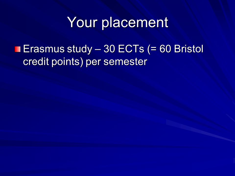 Your placement Erasmus study – 30 ECTs (= 60 Bristol credit points) per semester